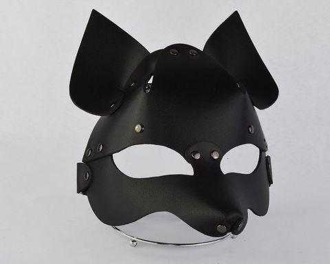 Черная кожаная маска  Лиса