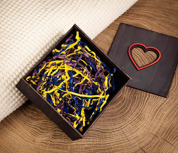 BOX209-1 Подарочная коробка из дерева с сердцем (17*17*7 см) фото 05