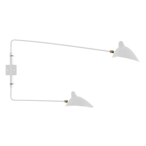 Настенный светильник AP2BD Two Arms by Serge Mouille (белый)
