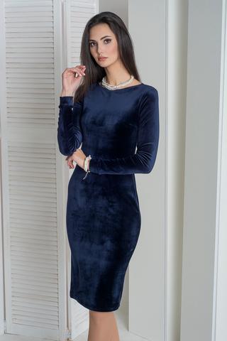 Саті. Облягаюча вишукана велюрова сукня. Синій