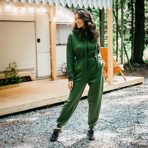 Warm oversized jumpsuit for women - Khaki