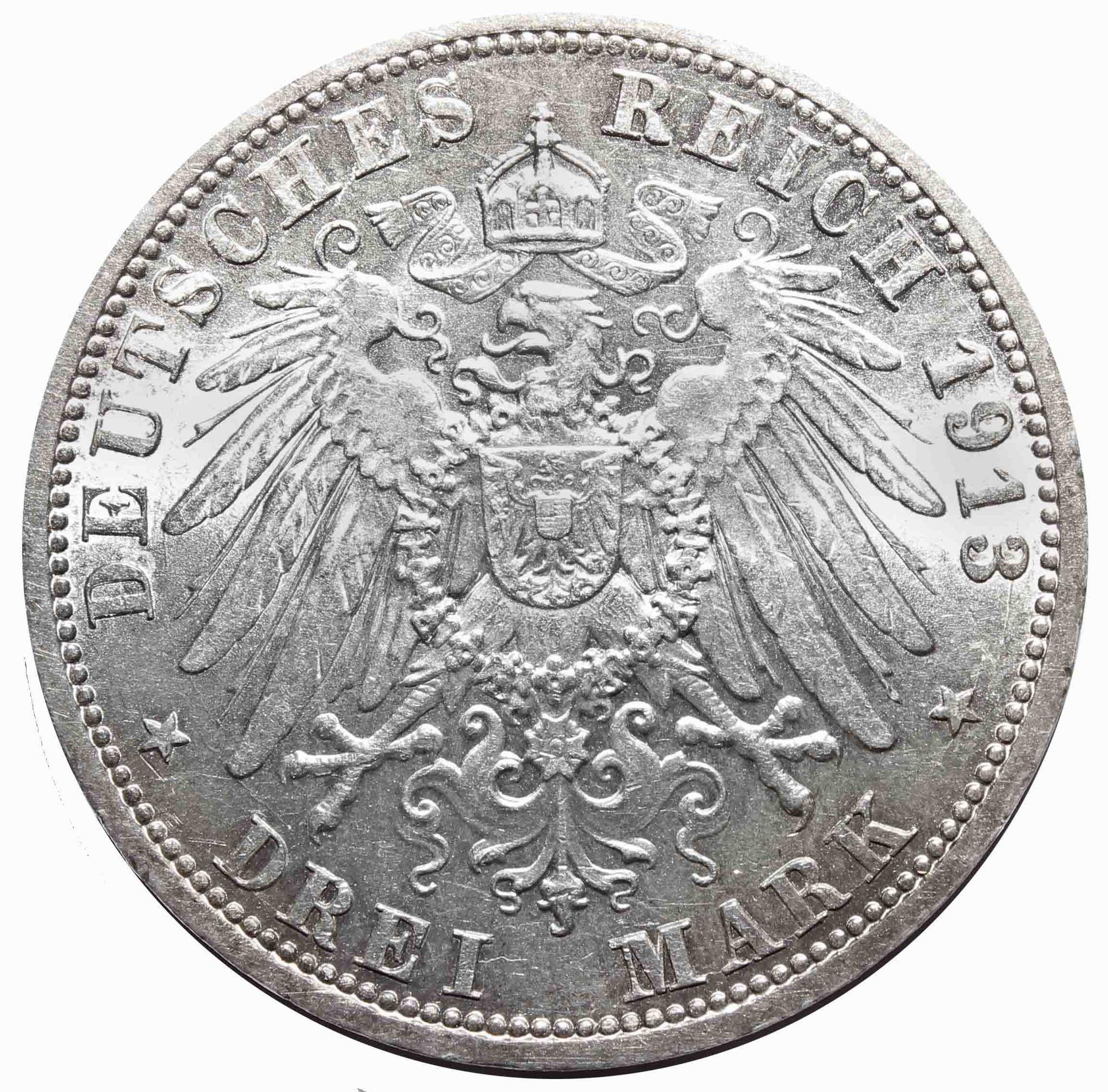 3 марки 1913 год 25 лет правления Вильгельма II, Германия-Пруссия. XF-AU