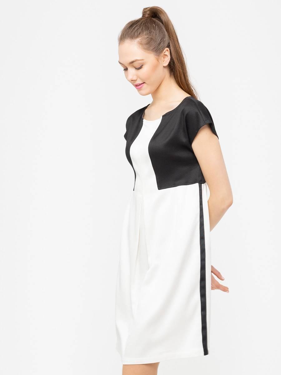 Платье З087-515 - Платье свободного силуэта со спущенной линией плеча позволят скрыть несовершенства фигуры и подчеркнуть природную красоту линии плеча. Умелое комбинирование тканей имитирует надетый поверх платья жакет, что визуально формирует женственный силуэт, делая талию тоньше. Модель платья универсальна и не потеряет свою актуальность.