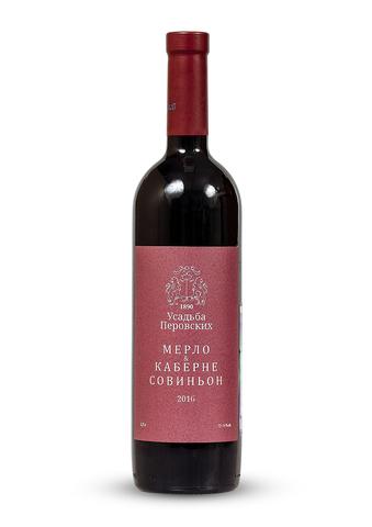 Вино Мерло и Каберне Совиньон сухое красное ТЗ Усадьба Перовских 0,75л.