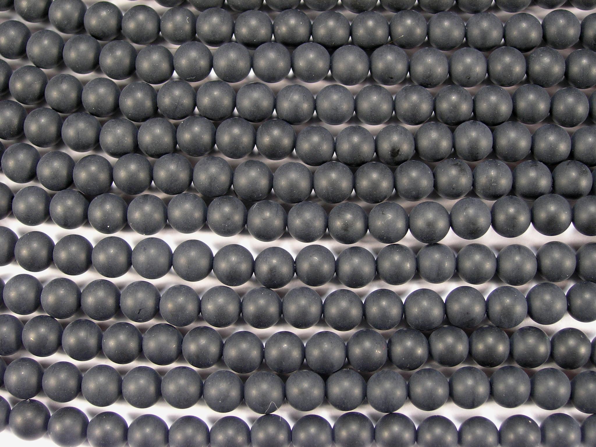 Нити бусин из оникса черного матового, шар гладкий 6мм (оптом)