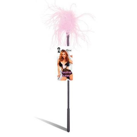 Ласкающая палочка с перьями розового цвета