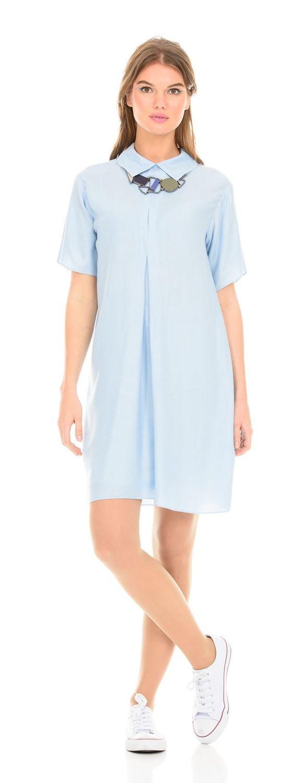 Платье З114-184 - Летнее платье свободной формы с отложным воротником и свободным рукавом до локтя. Комфортная и стильная модель не сковывает движения придавая легкости.