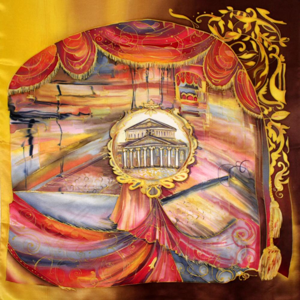 Комплект Шкатулка и платок батик Большой театр