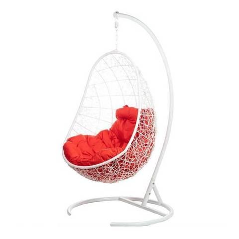 Кресло подвесное Ewerton White красная подушка