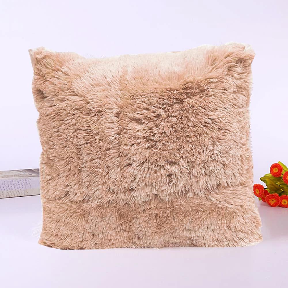 Подушка интерьерная с длинным ворсом песочного цвета