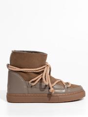 Высокие комбинированные кеды INUIKII 70202-5 Sneaker classic taupe на меху