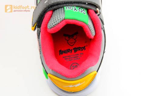 Светящиеся кроссовки для мальчиков Энгри Бердс (Angry Birds) на липучках, цвет темно серый, мигает картинка сбоку. Изображение 14 из 15.