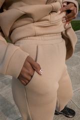 Бежевый спортивный костюм женский на флисе недорого