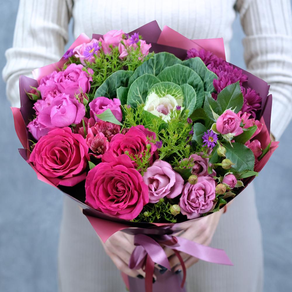 Необычный букет цветов с капустой купить заказать онлайн в интернет магазине Пермь доставка на дом курьер