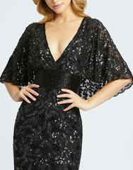 Платье в пол вышитое бисером Goddess 25001