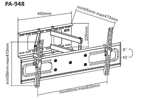 Поворотный кронштейн Brateck PA-948 купить в интернет-магазине Sony Centre Воронеж