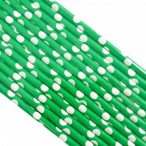 Трубочки бумажные Зеленые в горох, 200*6мм, 25шт