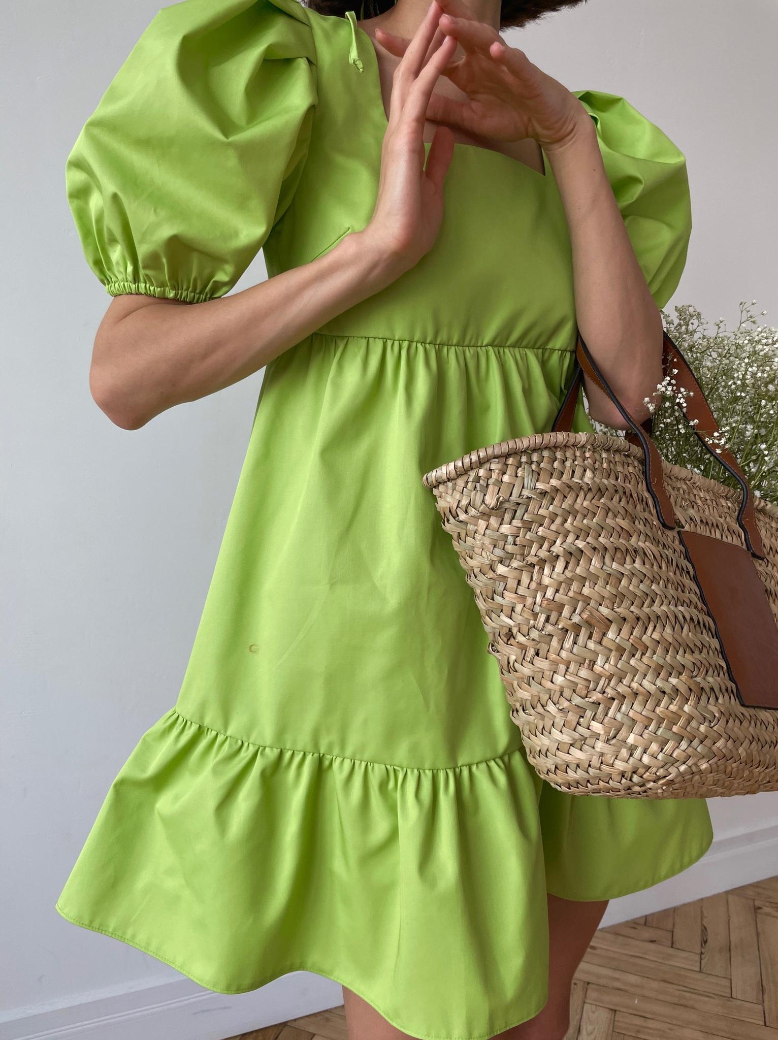 Платье ярусное из хлопка (лайм)