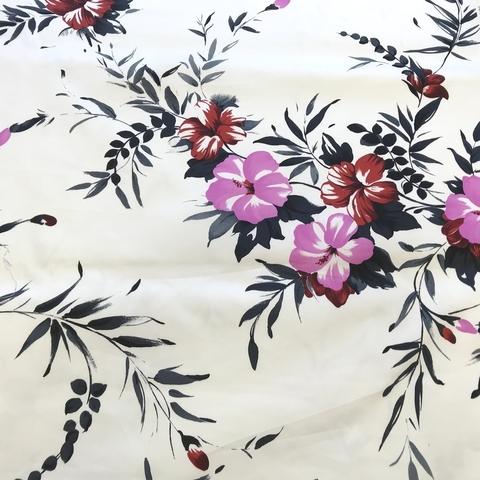 Ткань хлопок  белый с розовыми цветами 2106