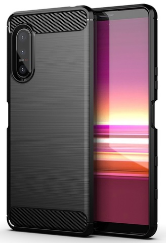 Чехол защитный черного цвета на Sony Xperia 5 II генерация 2020, серия Carbon от Caseport