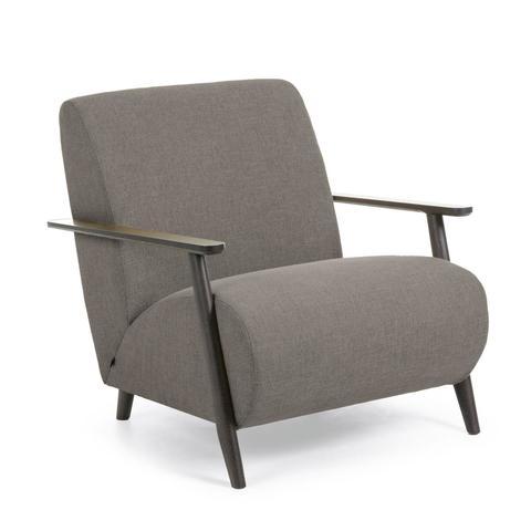 Кресло Marthan светло-серое подлокотники черные
