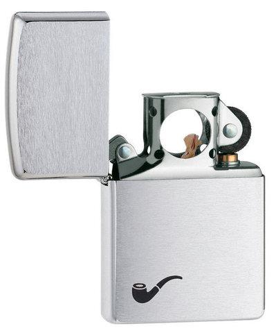 Зажигалка для трубок Zippo Brushed Chrome, латунь с никеле-хром., покрытием, серебристая, 36х12x56 м