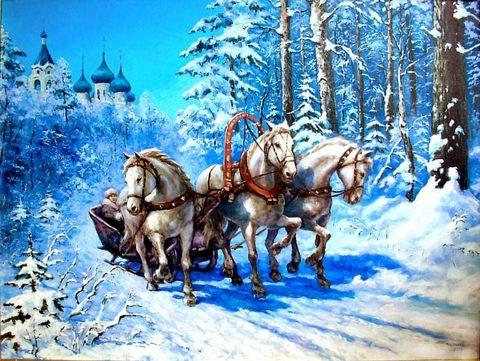 Алмазная Мозаика 50x65 Упряжка белых лошадей