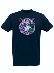 Футболка с принтом Тигр (Tiger) темно-синяя 001