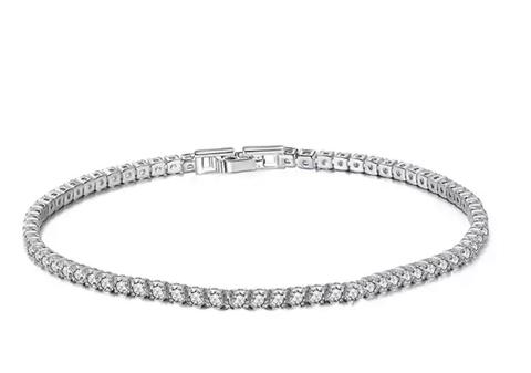 52187 - Теннисный браслет-дорожка из серебра с круглыми цирконами d = 3mm