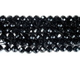 Нить бусин из шпинели черной, фигурные, 8 мм (шар, граненые)