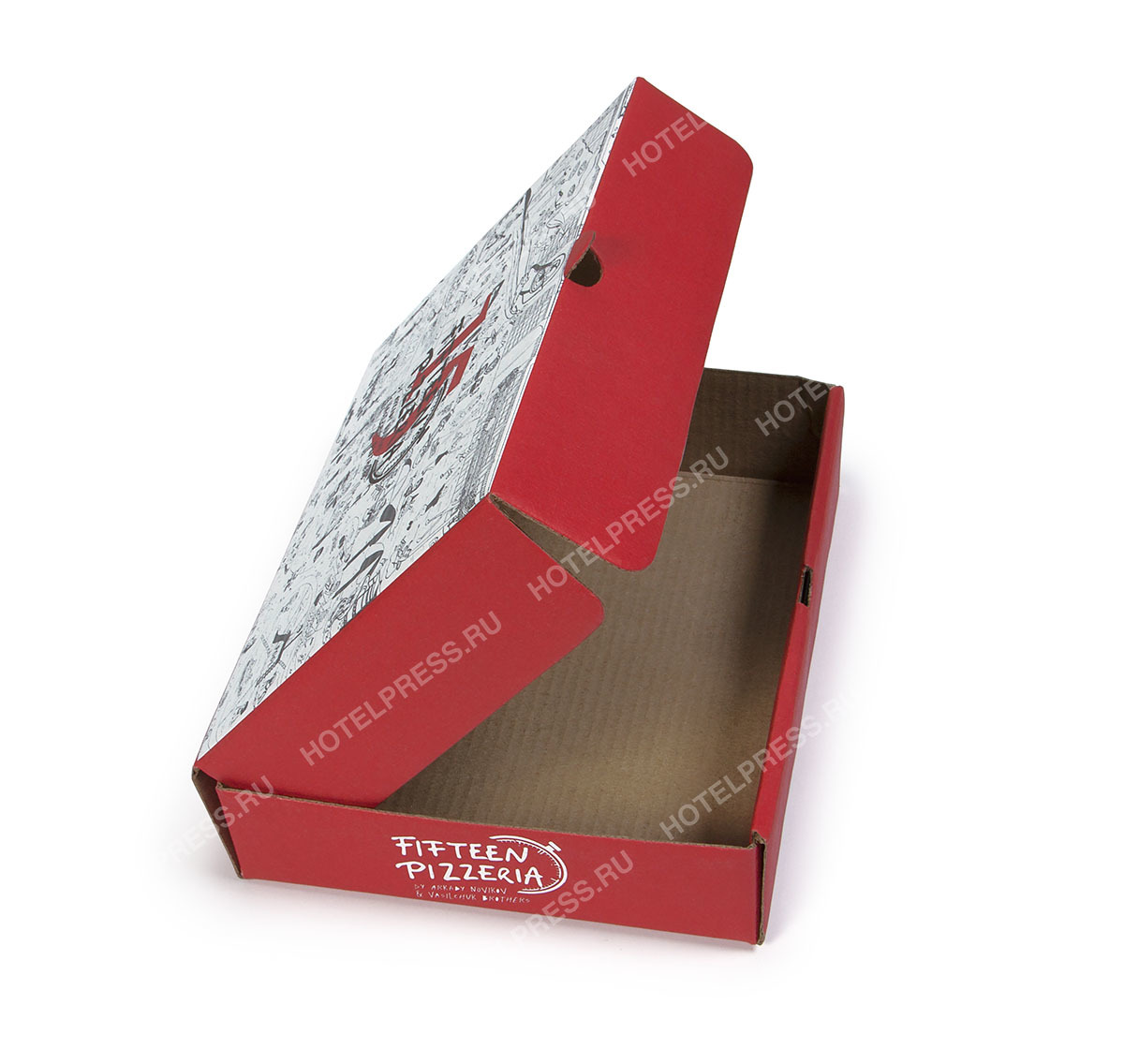Маленькая коробка для пиццы ресторана Fifteen Pizzeria