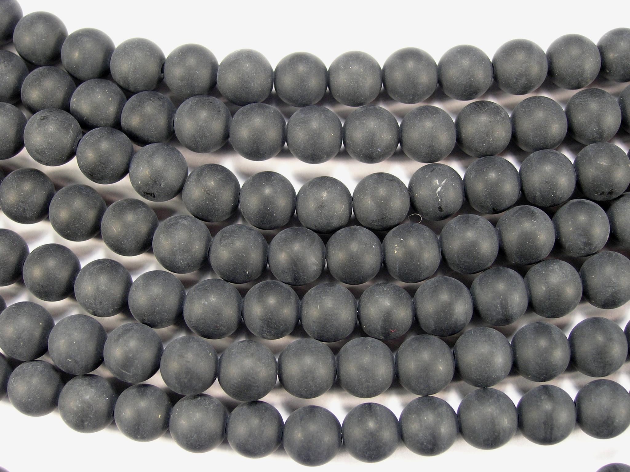 Нити бусин из оникса черного матового, шар гладкий 8мм (оптом)