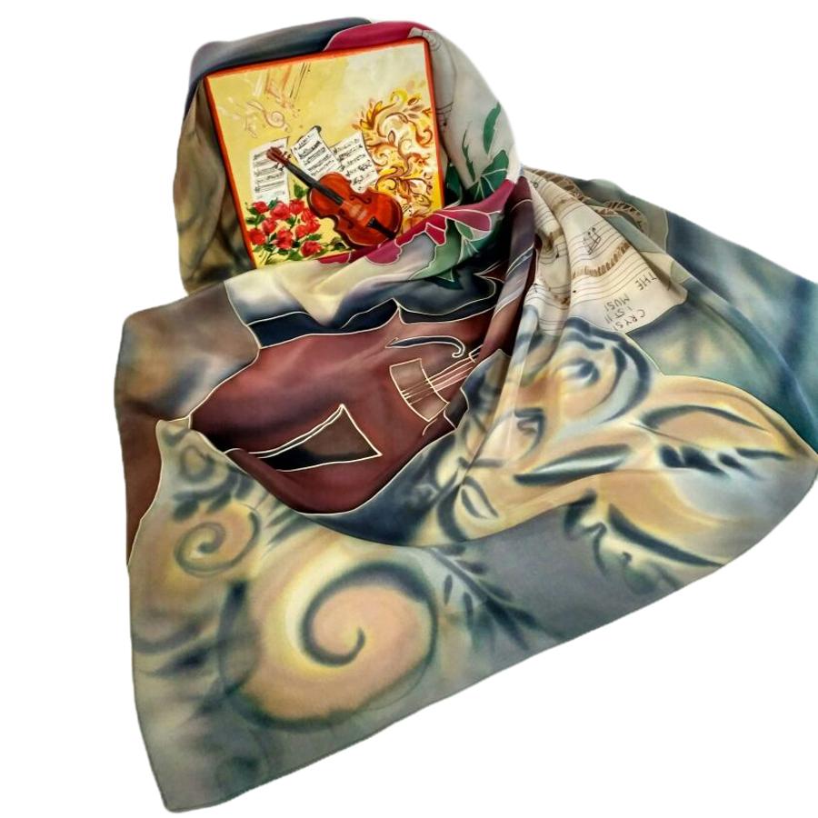 Комплект Шкатулка и платок батик Скрипка