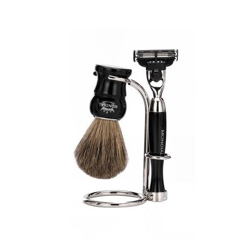 Набор бритвенный Mondial: станок, помазок, подставка; чёрный