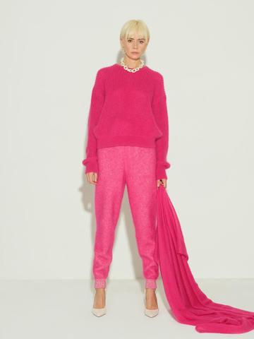 Женский шарф розового цвета из мохера и шерсти - фото 3