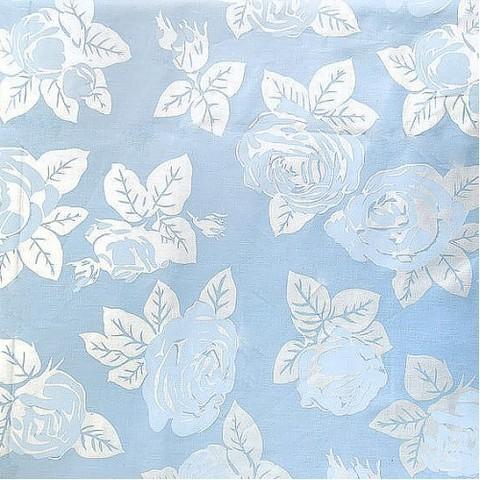 Тик 220 см 145 +/- 5 гр/м2 Розы цвет голубой