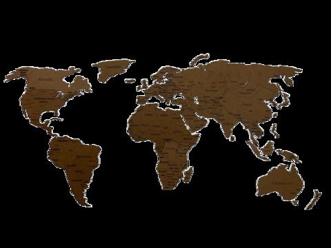 Деревянная карта мира 150х80 см с гравировкой, коричневая