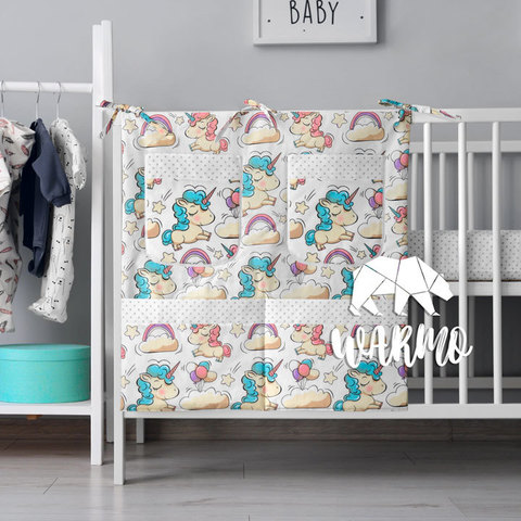 органайзер для ліжечка з білими єдинорогами фото