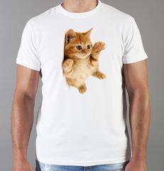 Футболка с принтом Кот, Кошка, Котенок (кошки) белая 0062