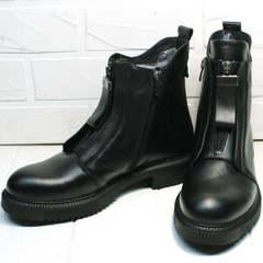 Черные демисезонные ботинки с молнией спереди женские Tina Shoes 292-01 Black.