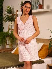 Мамаландия. Сорочка для беременных и кормящих с кнопками, звезды/светло-розовый