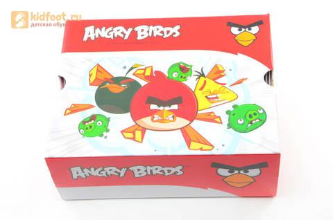Светящиеся кроссовки для мальчиков Энгри Бердс (Angry Birds) на липучках, цвет темно серый, мигает картинка сбоку. Изображение 15 из 15.