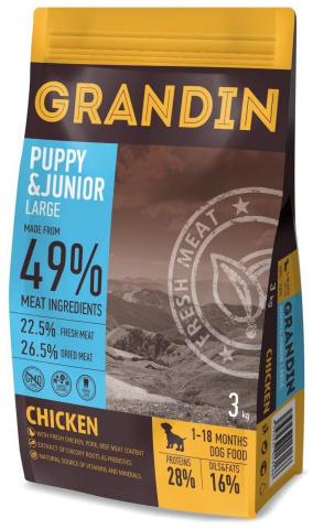 3 кг. Grandin Puppy and Junior Large корм для щенков крупных пород, с курицей