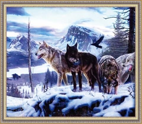 Алмазная Мозаика 50x65 Волки готовятся выйти на охоту зимой