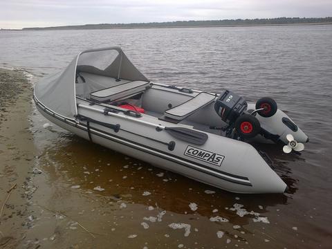 Надувная лодка Compas-380S с НДНД, св.серая/синий