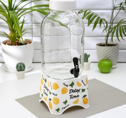 Диспенсер с краном «Лимоны» на подставке, 5 л