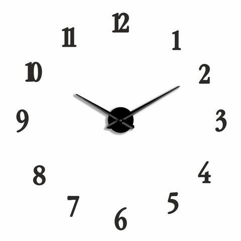 Большие 3D часы бесшумные на стену черные , 50- 110 см