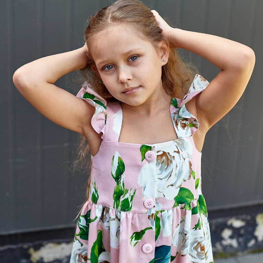 Дитячий сарафан з авторським принтом троянди