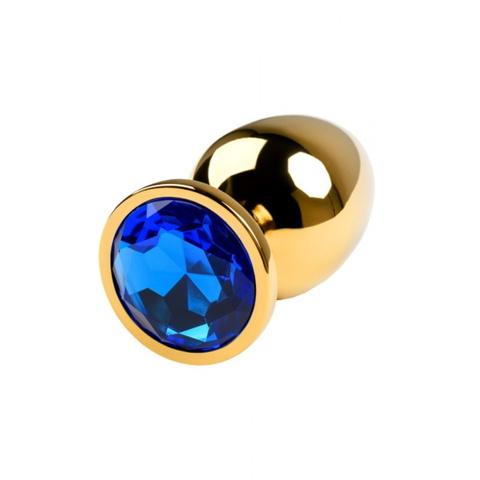 Анальная пробка с кристаллом (золото/синий) средняя