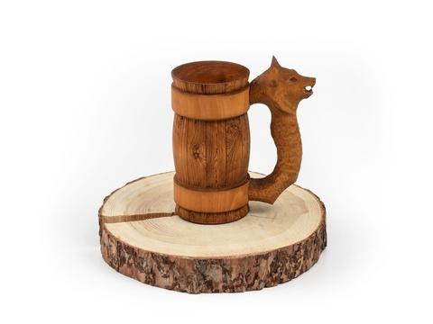 Кружка из дерева с резной ручкой «Волк» 0,5 л
